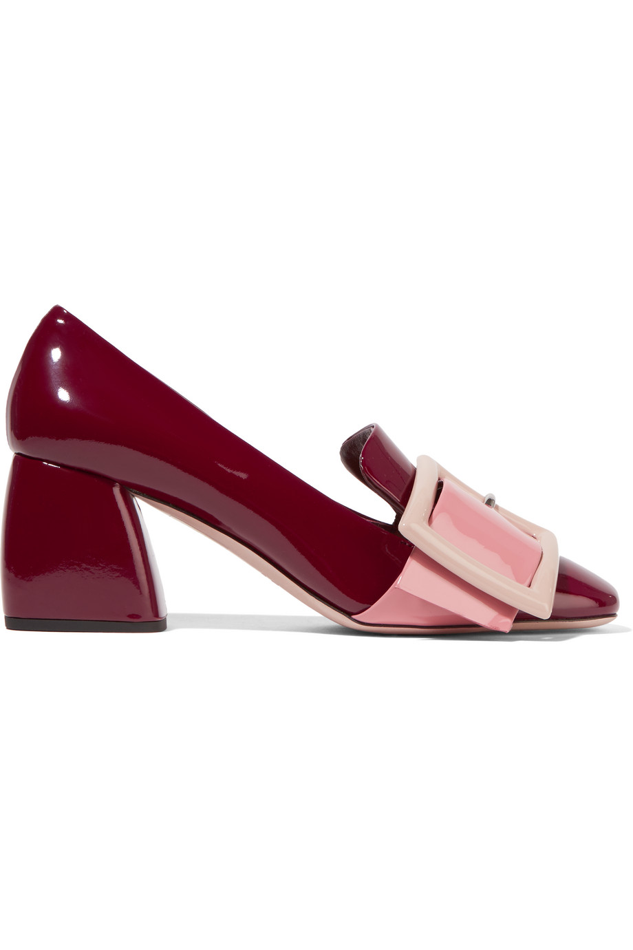 Miu Miu Buckled Patent-Leather Pumps, Burgundy/Pink, Women's US Size: 10, Size: 40.5