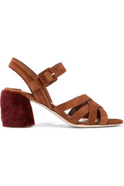 Shearling-trimmed suede sandals