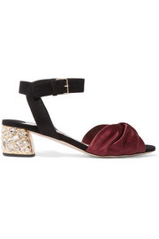 Crystal-embellished knotted satin and suede sandals