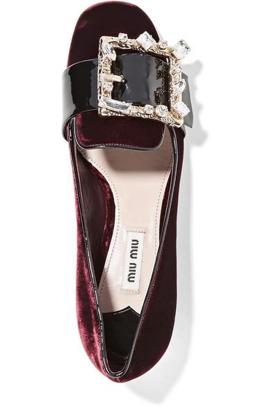 MIU MIU Crystal-Embellished Patent Leather-Trimmed Velvet Pumps