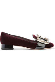Miu Miu Crystal-embellished patent leather-trimmed velvet pumps