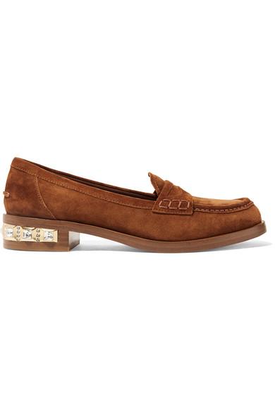 Miu Miu - Crystal-embellished Suede Loafers - Brown