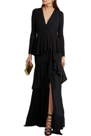 Tiered stretch-jersey wrap gown