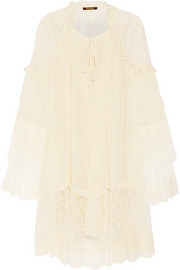 Roberto Cavalli Lace-trimmed silk-georgette mini dress