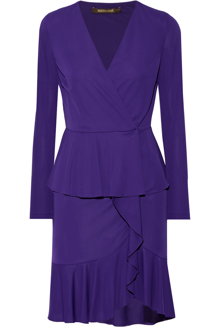 Roberto Cavalli Wrap-Effect Ruffled Stretch-Jersey Mini Dress, Dark Purple, Women's, Size: 40