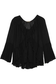 Ruffled silk-georgette top