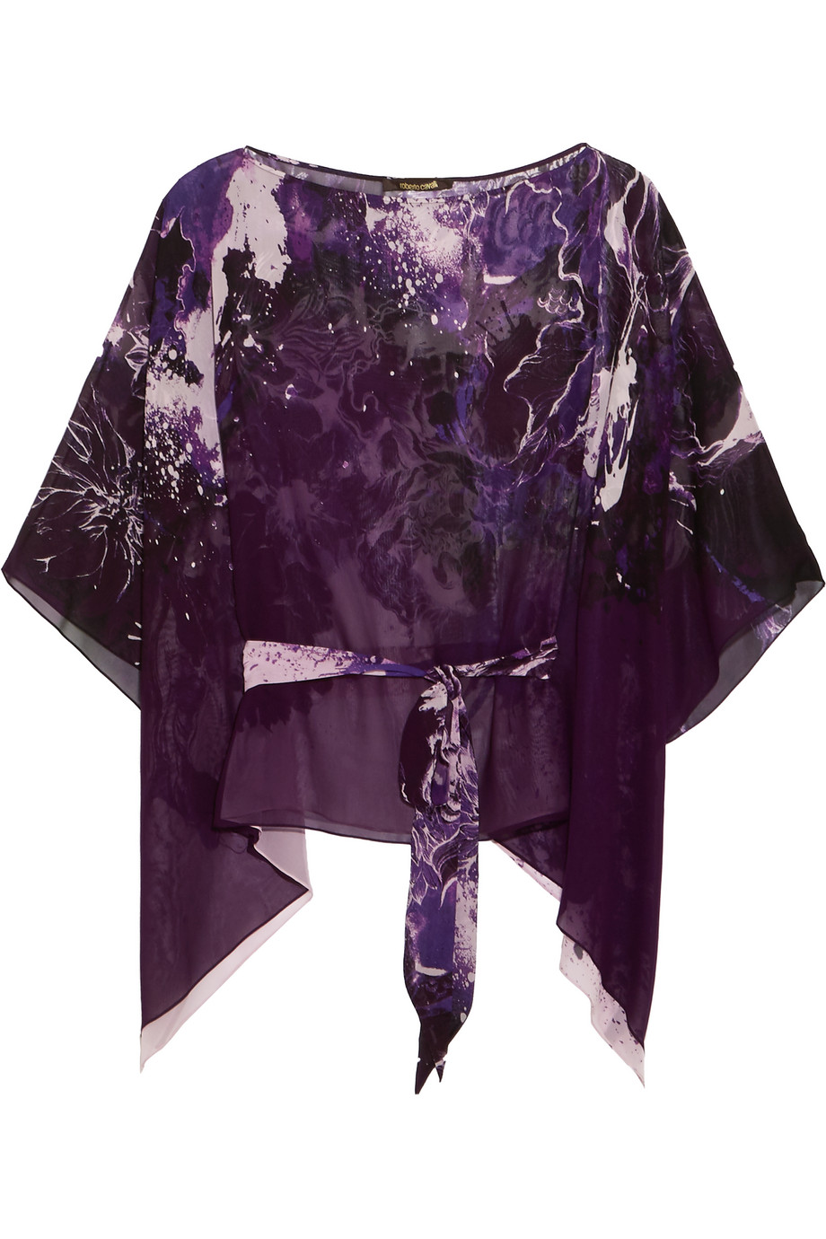 Roberto Cavalli Printed Silk-Georgette Top, Purple, Women's, Size: 38
