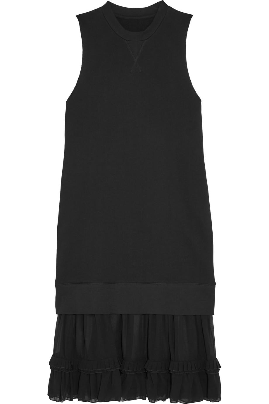 Ruffled Chiffon-Paneled Cotton-Jersey Dress, MM6 Maison Margiela, Black, Women's