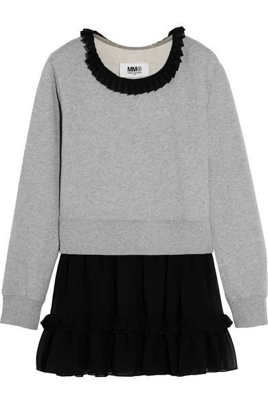 MM6 Maison Margiela - Ruffled Chiffon-trimmed Cotton-jersey Sweater - Gray