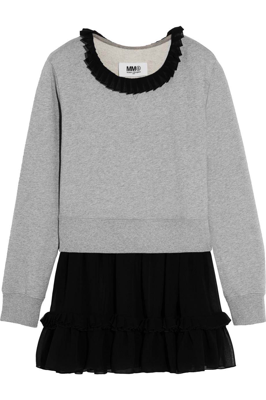 Ruffled Chiffon-Trimmed Cotton-Jersey Sweater, MM6 Maison Margiela, Gray, Women's, Size: XS