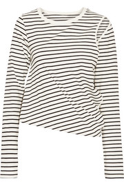 Cutout striped stretch-cotton jersey top