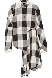 Asymmetric checked twill shirt