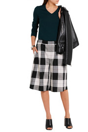 Plaid twill culottes