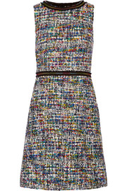 Boutique Moschino Grosgrain-trimmed bouclé-tweed dress