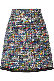 Boutique Moschino Grosgrain-trimmed bouclé-tweed mini skirt