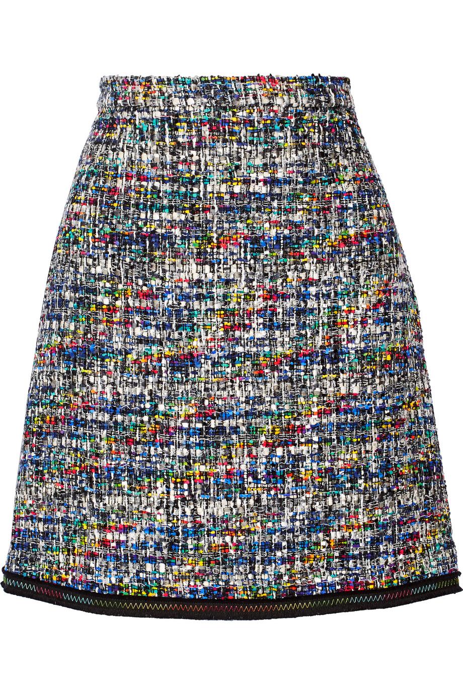 Grosgrain-Trimmed Bouclé-Tweed Mini Skirt, Black, Women's, Size: 48