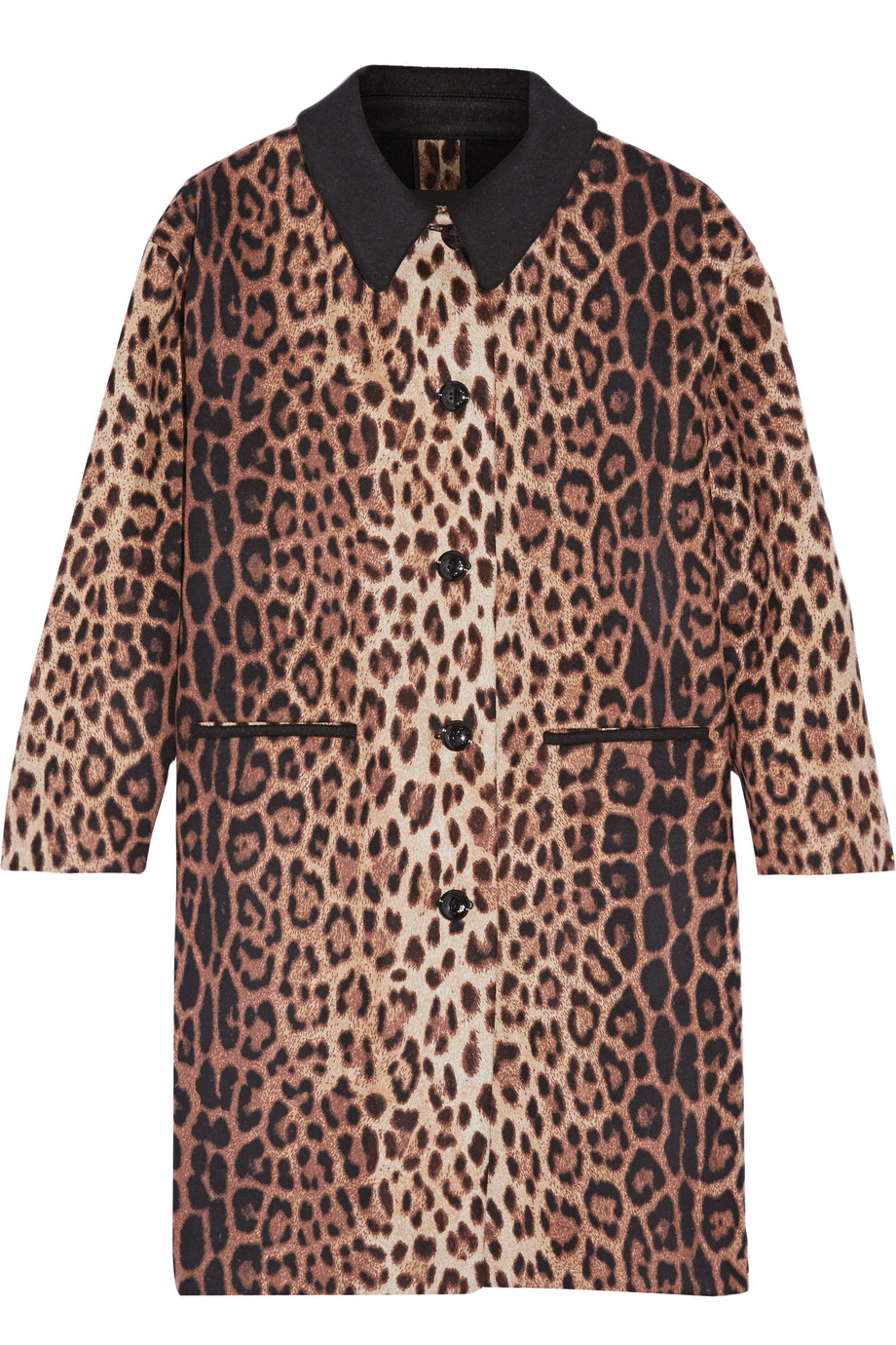 Leopard-Print Wool-Blend Coat, Leopard Print, Women's, Size: 44