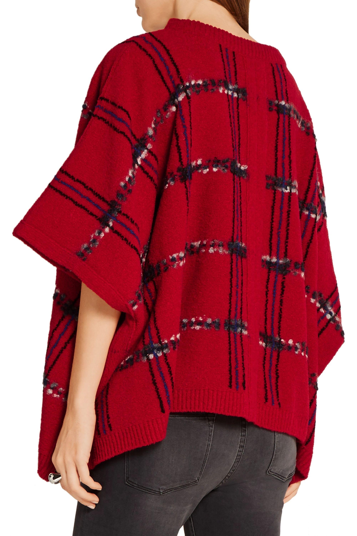 Boutique Moschino Tartan wool blend-bouclé poncho
