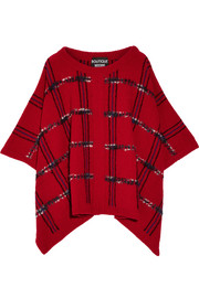 Boutique Moschino Tartan wool blend-bouclé poncho