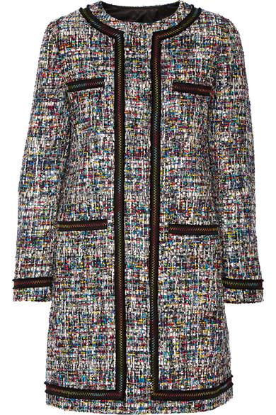 Boutique Moschino - Grosgrain-trimmed Bouclé-tweed Coat - Black