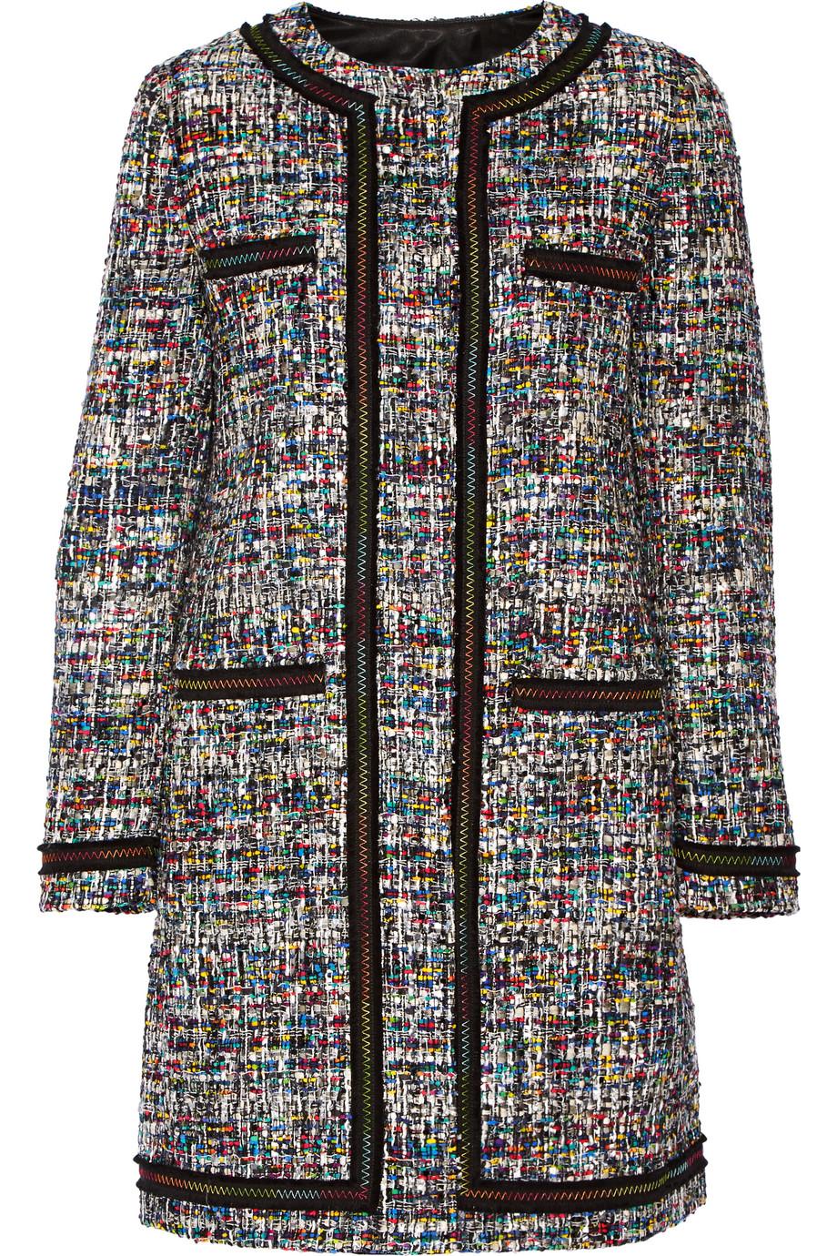 Grosgrain-Trimmed Bouclé-Tweed Coat, Black, Women's, Size: 42