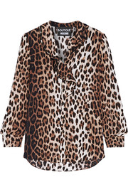 Boutique Moschino Ruffle-trimmed leopard-print crepe de chine blouse