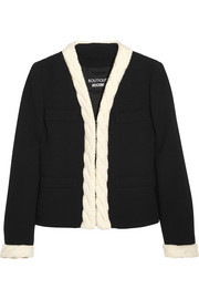Boutique Moschino Cable knit-trimmed wool-crepe jacket