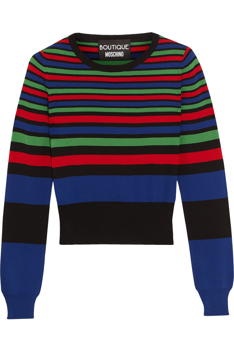 Striped Stretch-Knit Sweater, Royal Blue, Women's, Size: 38