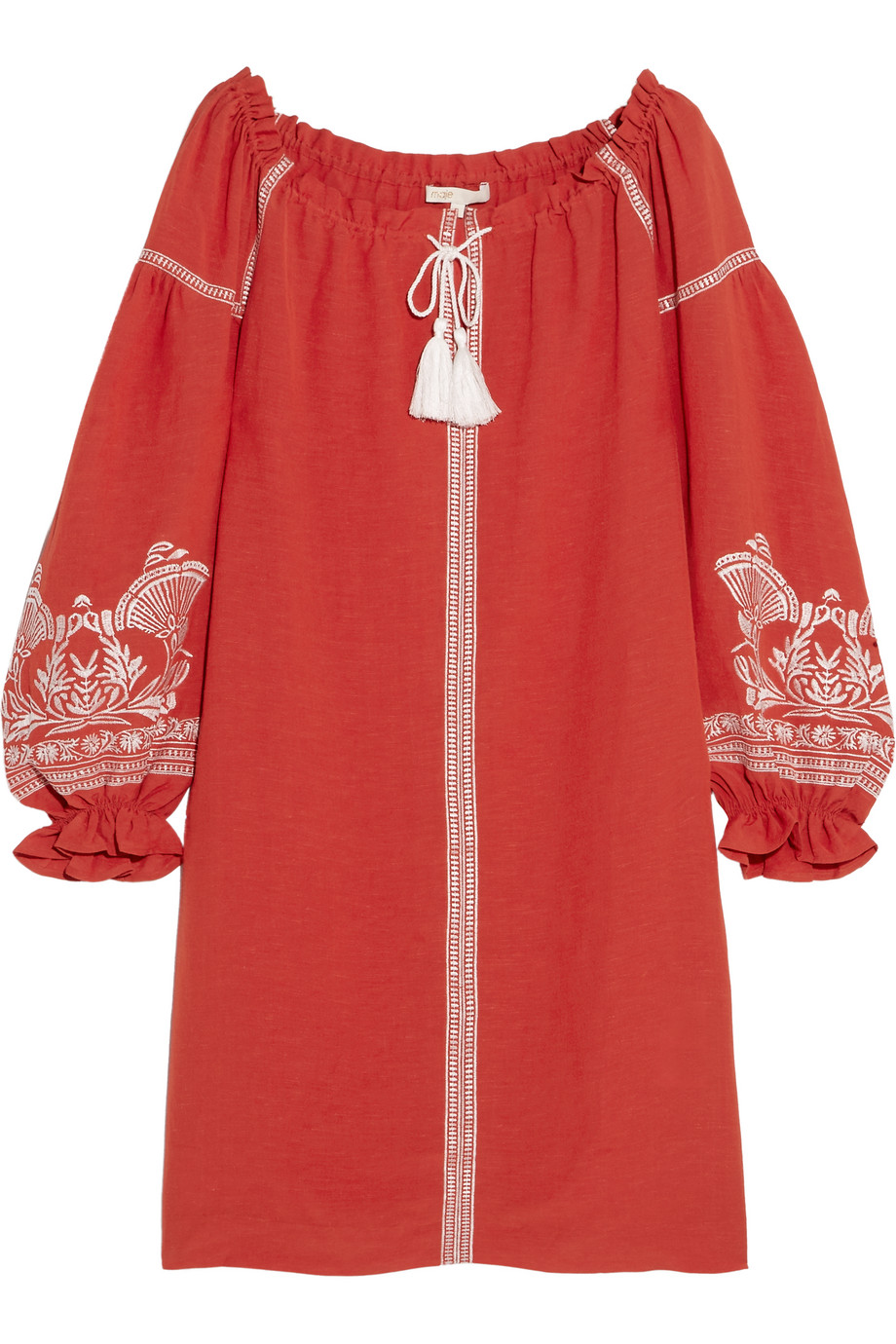 Maje Embroidered Slub Crepe Mini Dress, Red, Women's - Embroidered, Size: 3