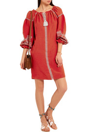 Maje Embroidered slub crepe mini dress
