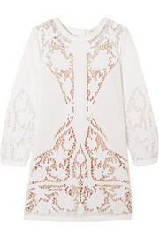 Juniper guipure lace-paneled embroidered cotton-poplin mini dress