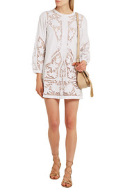 Maje Juniper guipure lace-paneled embroidered cotton-poplin mini dress