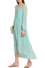 Maje Rutabaga gathered chiffon midi dress