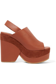 Suede-trimmed leather platform sandals