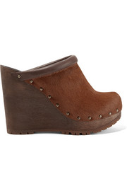 See by Chloé Leather-trimmed calf hair wedge clogs