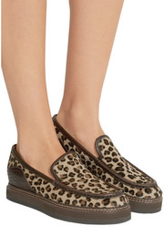 Leather-trimmed leopard-print calf hair loafers