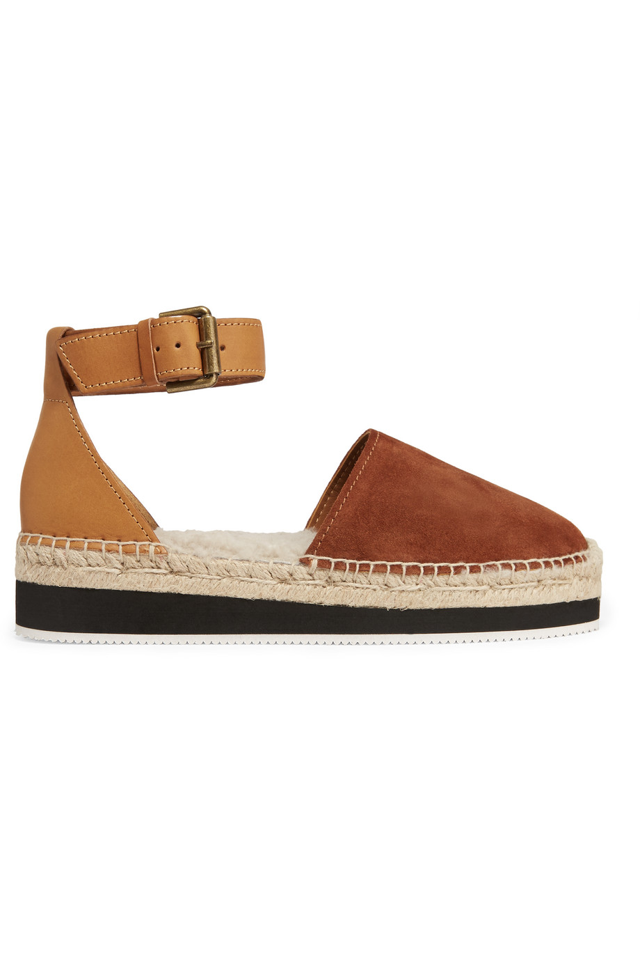 See by Chloé Shearling-Lined Suede and Leather Espadrilles, Tan, Women's US Size: 4.5, Size: 35