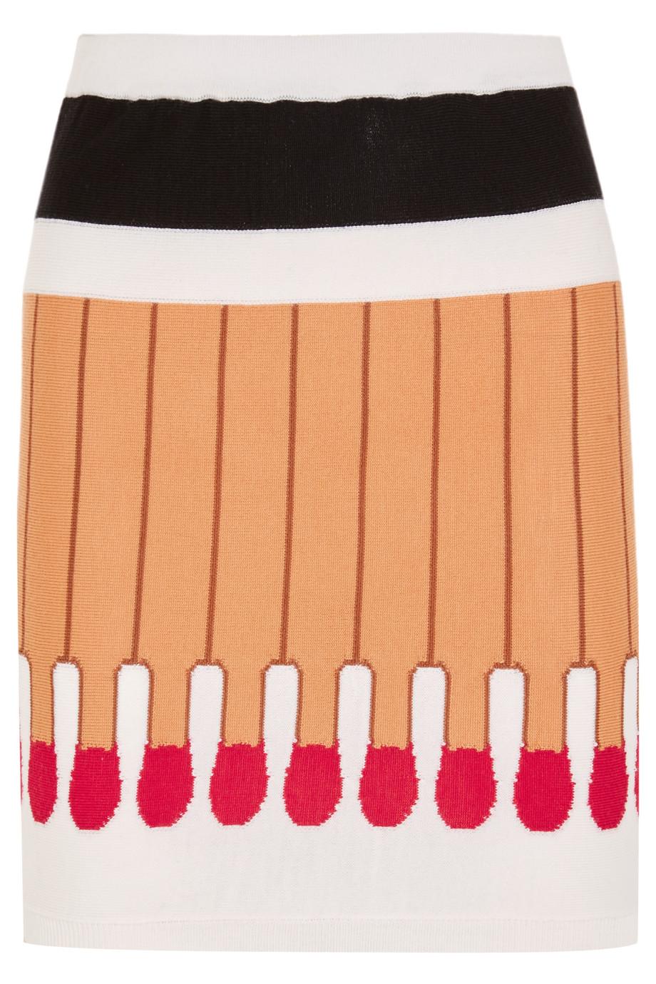Moschino Intarsia Wool Mini Skirt, Beige/Red, Women's, Size: 38