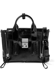 The Pashli mini textured patent-leather trapeze bag
