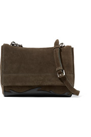 Ames leather-paneled suede shoulder bag
