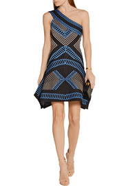 Hervé Léger Margeaux one-shoulder stretch jacquard-knit mini dress