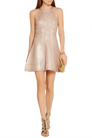 Hervé Léger Alina cutout metallic bandage mini dress