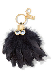 Sam leather-trimmed feather keychain
