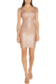 Hervé Léger Tejana metallic bandage mini dress