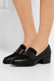 3.1 Phillip Lim Quinn suede-paneled textured-leather loafers