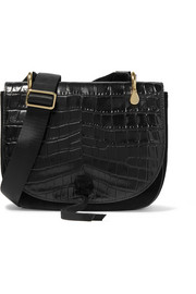 Elizabeth and James Zoe Saddle croc-effect leather and suede shoulder bag