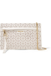 James mini laser-cut leather shoulder bag