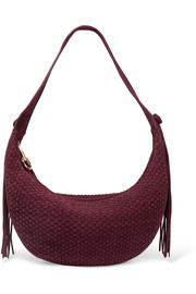 Zoe medium tasseled woven suede shoulder bag