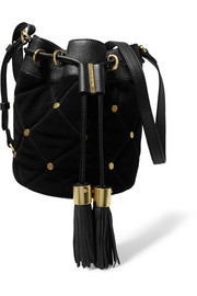 Vicki suede and leather bucket bag