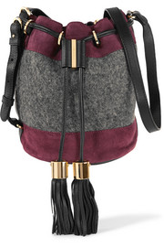 Suede and wool bucket bag